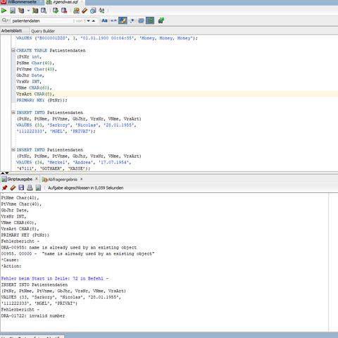 - (Informatik, sql, Oracle)