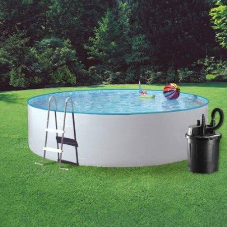 stahlwandpool aufbauen garten sommer pool