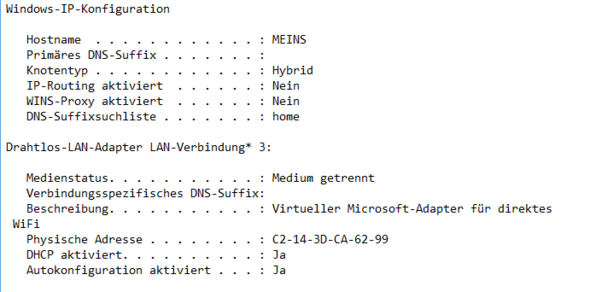 Erster Teil - (Internet, standardgateway)