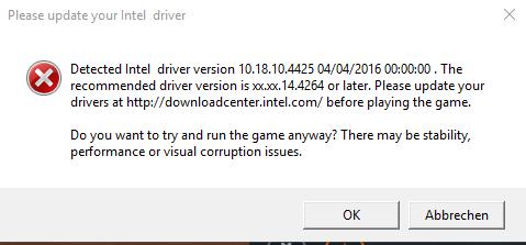 Die Fehlermeldung - (Star Wars Battlefront, Intel Driver)