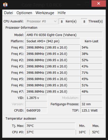 Temperaturen der CPU im Spiel  - (PC, Technik, PC-Spiele)