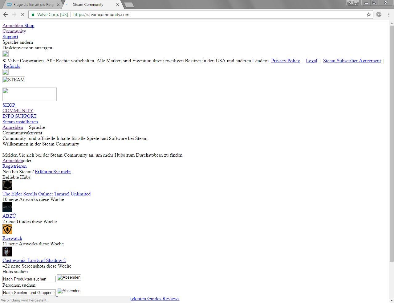 Browser Lädt Nicht