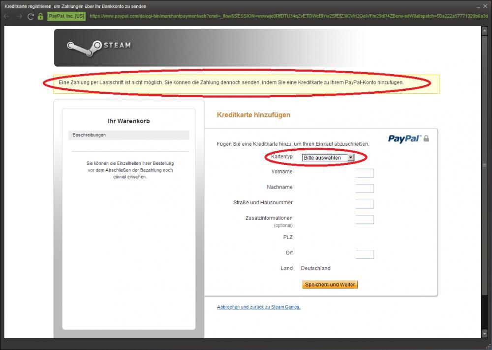 paypal geht nicht per lastschrift