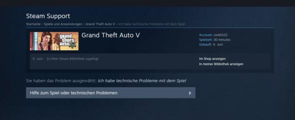 Schritt 6 - Hier werde ich auf diese Seite geleitet, kann es aber nicht zurücker - (Steam, GTA V, Rückgabe)