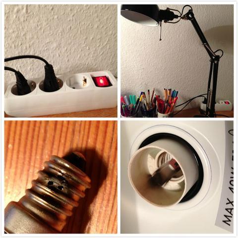 Steckdose mit Schalter, beim schalten ist die Tischlampe explodiert! Was habe ich falsch getan?