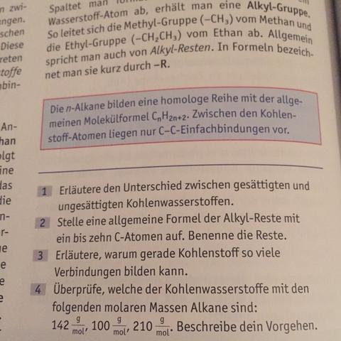 Stelle eine allgemeine Formel der Alkyl-Reste mit ein bis Zehn C ...