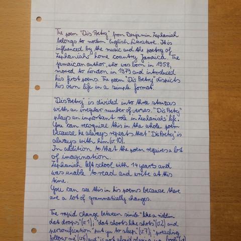 Teil 1 - (Schule, Englisch, Text)