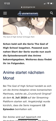 - (Anime, Manga, The God of highschool)