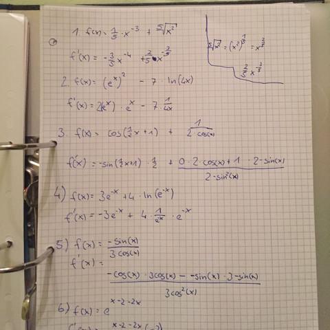 Unten steht e hoch x minus 2 minus 2x mal in klammer minus 2 aber is glaub falsc - (Mathe, Kontrolle, Ableitung)