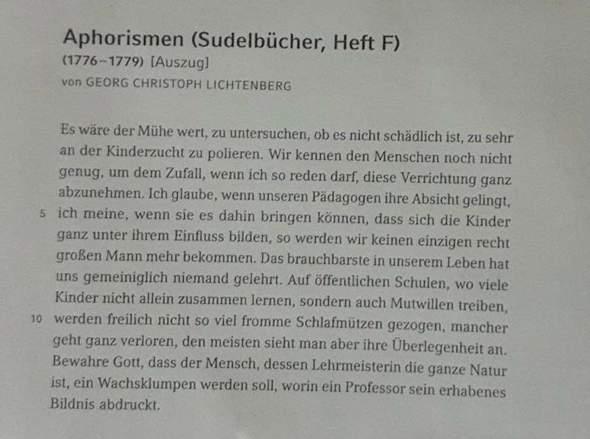 Stimmt Lichtenberg Lessings Vorstellung der Erziehung des Menschengeschlechts zu?