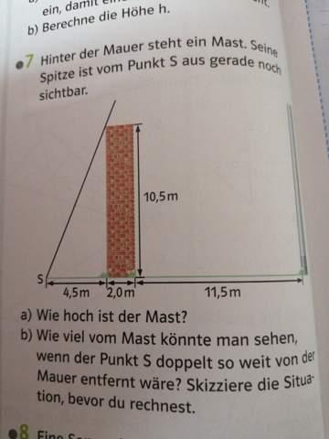 Strahlensätze : Wie hoch ist der Mast?