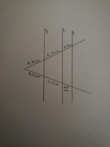 Strahlensätze (berechnen ob g ,h und k parallel zueinander sind)?