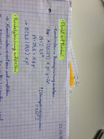 Beispiel: Punkt auf Parabel - (Mathematik, Streckenlägen)