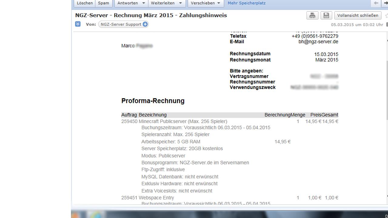 Stress mit NGZ-Server rechnung (Minecraft, E-Mail, Support)