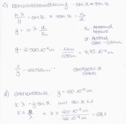 Rechnung - (Physik, Optik, Beugung und Interferenz)