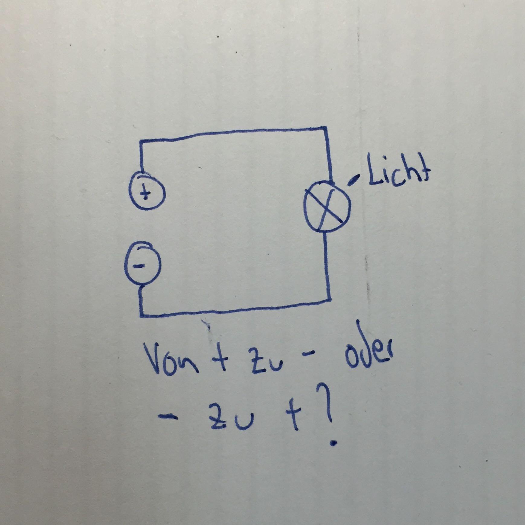 Stromkreis von plus zu Minuspol? (Physik, Strom, Elektronen)