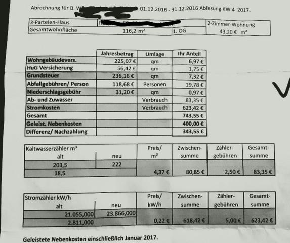 Nebenkostenabrechnung   (Haus, Strom, Wohnen)
