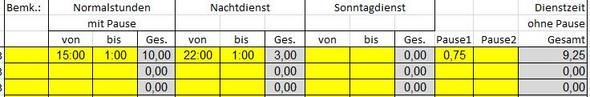 Stundenzettel Beispiel - (Excel, Stundenzettel)