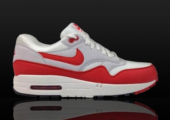 Nike Air Max 1 OG Weiss Rot Grau  - (Mode, Schuhe)