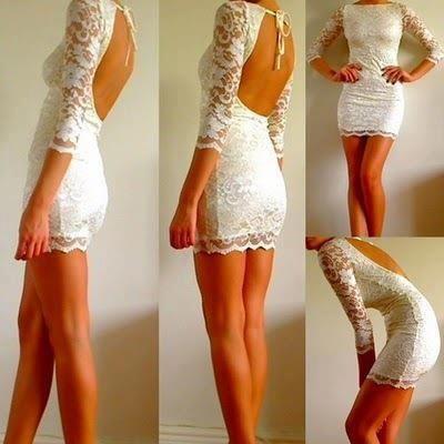 Wunderschönes Kleid, weiß, spitze, Rückenfrei - (Kleidung, Kleid, weiß)
