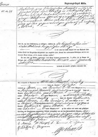 Heiratsurkunde Seite 1 - (Uebersetzung, heiratsurkunde, private Ahnenforschung)