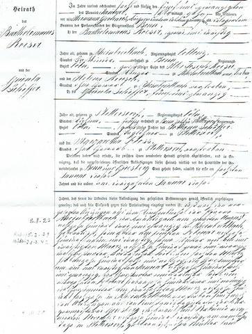 Heiratsurkunde Seite 2 - (Uebersetzung, heiratsurkunde, private Ahnenforschung)