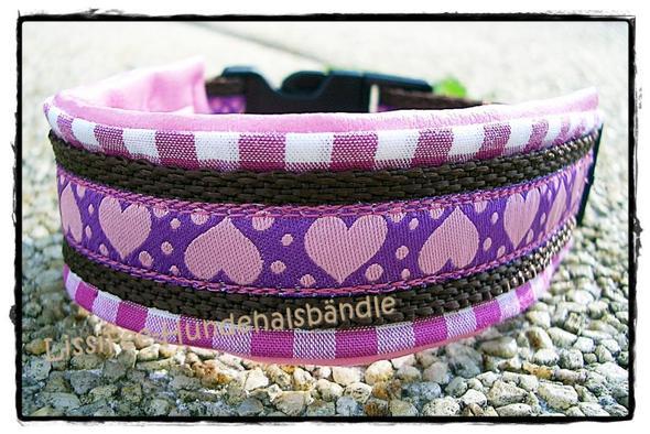 Das Webband mit den Herzen in lila-rosa - (Band, nähen, Handarbeit)