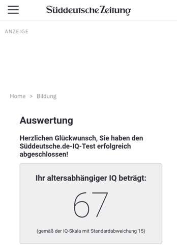 Süddeutsche IQ-Test unzuverlässig?