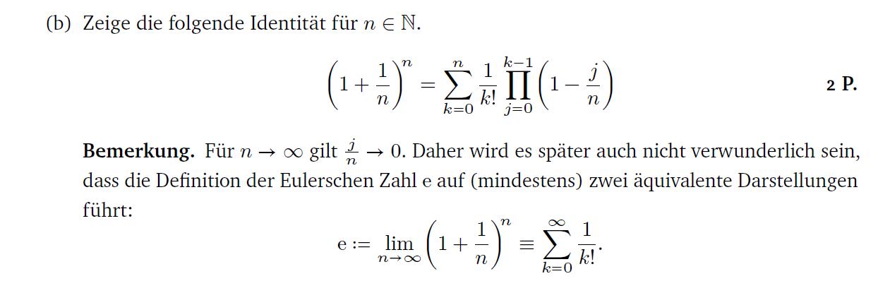 Summen und Binomialsatz; Zeige für folgende Identität...? (Schule ...