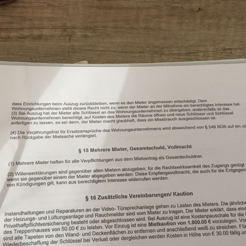 Auszug aus dem Mietvertrag 2 - (Wohnung, Mietrecht, Vermieter)