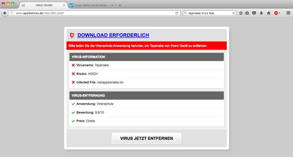 Tapsnake screenshot - (Computer, Virus, Mac OS X)