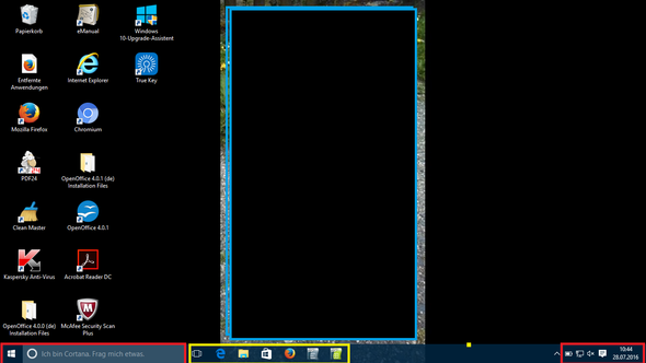 Desktop - gelb funktioniert, rot nicht - (Windows 10, Desktop)