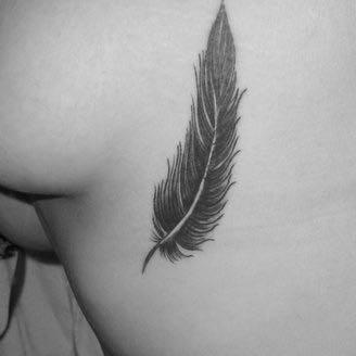 Rippentattoo - (Tattoo, Feder, Rippe)