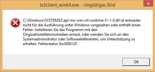 Die Fehlermeldung - (Windows 8, Teamspeak)