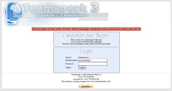 Fehler Meldung - (Teamspeak, ts3, Teamspeak 3)