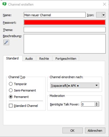 TeamSpeak Channel erstellen ohne Passwort?