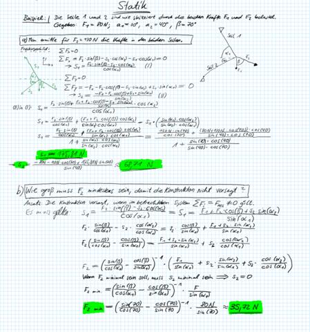 Technische Mechanik/ Statik: Belastung von Seilen - wie groß muss F2 mindestens sein, damit die Konstruktion nicht versagt?
