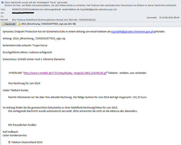 E-Mail - (Virus, Telekom)
