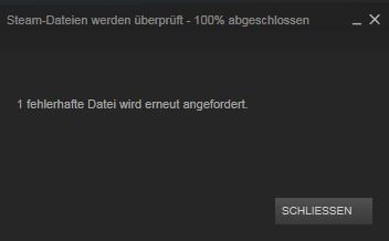 Und bei Steam bleibt immer das mit 1 Fehler wurde gefunden. - (Computer, PC, Steam)