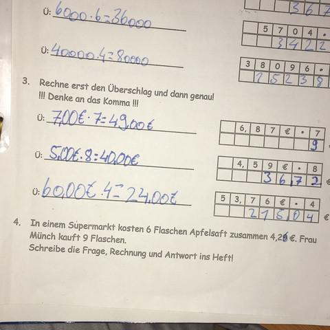 Nr.4 ) - (Mathe, Grundschule, textaufgabe)