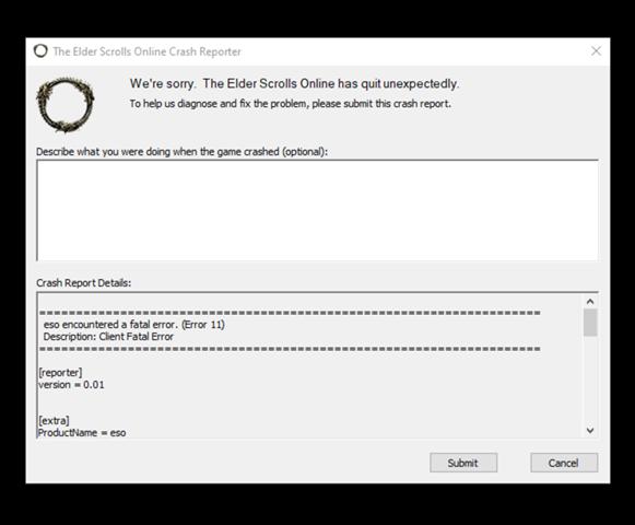 "The Elder Scrolls Online ""error 11""?"