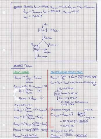 Thermodynamik: Leistungsrückgewinnung bei einem Ottomotor  durch Ausnutzung des Abgaswärmestroms - wo liegt der Rechenfehler?