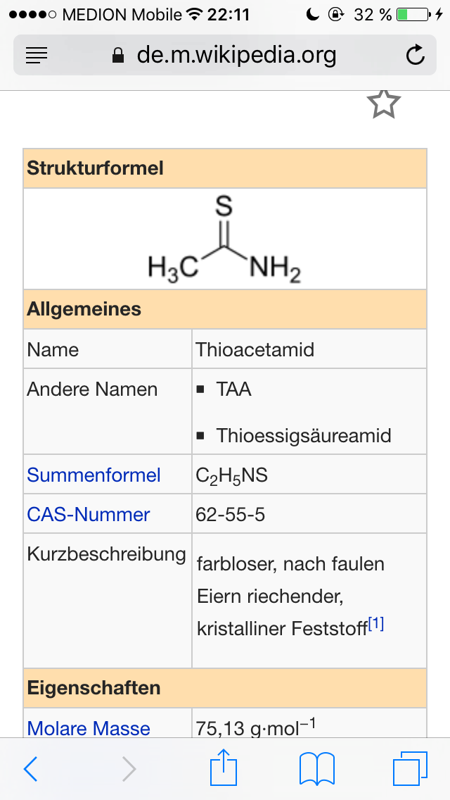 Thioacetamid Strukturformel? (Chemie, Formel)