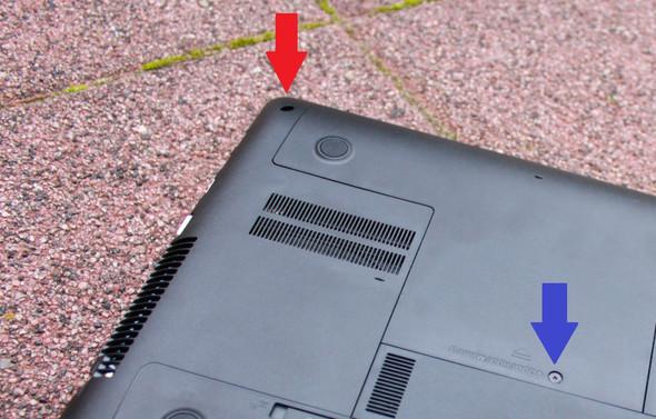Bevorzugt Tiefe, rund gedrehte Schraube aus Notebook lösen? (entfernen BB33