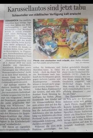 Tiere und Autos sind auf Karussellen in Osnabrück jetzt verboten. Ist das eine echte Meldung oder bin ich auf Satire reingefallen?
