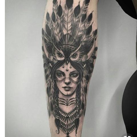 Eule auf Indianerin - (Tiere, Tattoo, Bedeutung)