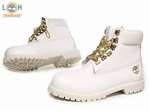 Timberland 6 Inch White Gold with Gold Chain - (Schuhe, weiß, Gold)