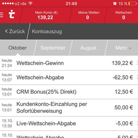 Hier sieht man die extra 12.5€ aber beim einzahlen würde das nicht angezeigt - (Konto, Tipico, Auszahlen)