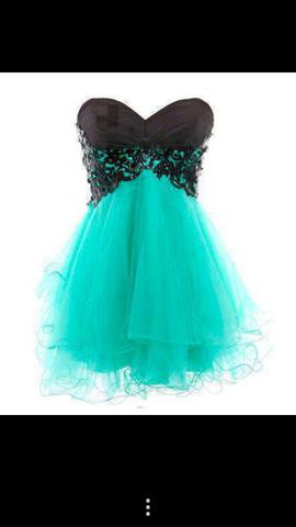 Kleid turkis schwarz