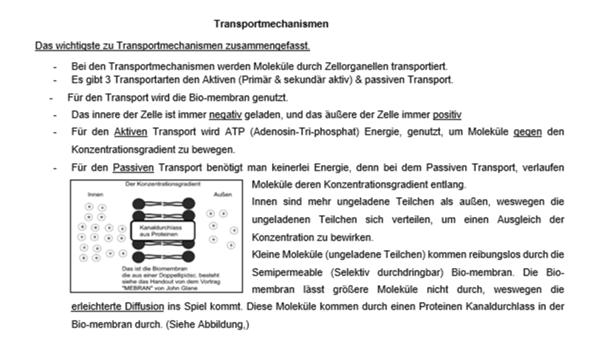 Transportmechanismen Handout, ist das so ok?